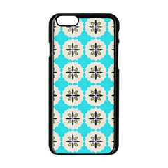 Floral Pattern On A Blue Background Apple Iphone 6 Black Enamel Case by LalyLauraFLM