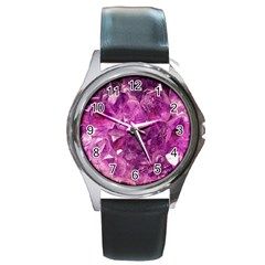 Amethyst Stone Of Healing Round Leather Watch (silver Rim) by FunWithFibro