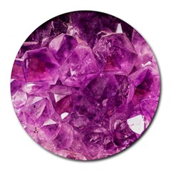 Amethyst Stone Of Healing 8  Mouse Pad (round) by FunWithFibro