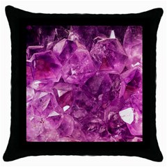 Amethyst Stone Of Healing Black Throw Pillow Case by FunWithFibro