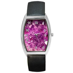 Amethyst Stone Of Healing Tonneau Leather Watch by FunWithFibro