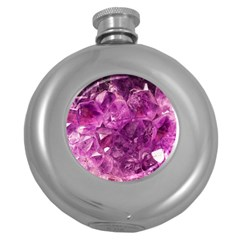 Amethyst Stone Of Healing Hip Flask (round) by FunWithFibro