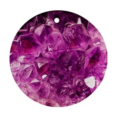 Amethyst Stone Of Healing Round Ornament (two Sides) by FunWithFibro
