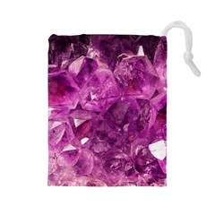 Amethyst Stone Of Healing Drawstring Pouch (large) by FunWithFibro