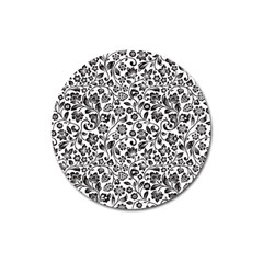 Elegant Glittery Floral Magnet 3  (round) by StuffOrSomething