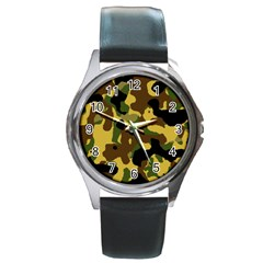 Camo Pattern  Round Leather Watch (silver Rim) by Colorfulart23