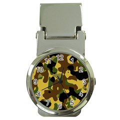 Camo Pattern  Money Clip With Watch