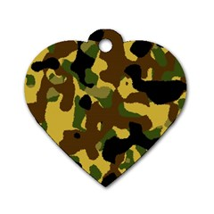 Camo Pattern  Dog Tag Heart (two Sided)