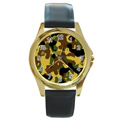 Camo Pattern  Round Leather Watch (gold Rim)