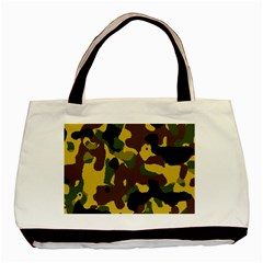 Camo Pattern  Twin-sided Black Tote Bag by Colorfulart23