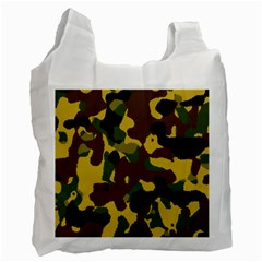 Camo Pattern  White Reusable Bag (two Sides) by Colorfulart23
