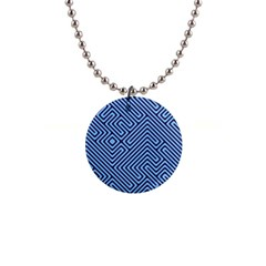 Blue Maze 1  Button Necklace by LalyLauraFLM