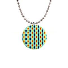 Yellow Chains Pattern 1  Button Necklace by LalyLauraFLM
