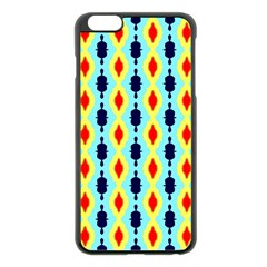 Yellow Chains Pattern Apple Iphone 6 Plus Black Enamel Case by LalyLauraFLM