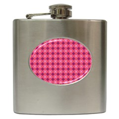 Abstract Pink Floral Tile Pattern Hip Flask by creativemom