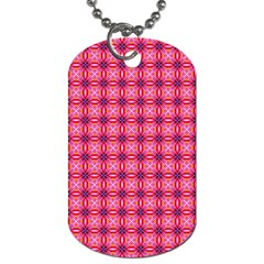 Abstract Pink Floral Tile Pattern Dog Tag (two Sided)  by creativemom