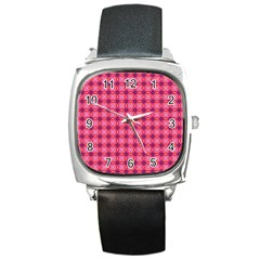 Abstract Pink Floral Tile Pattern Square Leather Watch by creativemom