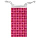 Abstract Pink Floral Tile Pattern Jewelry Bag Front
