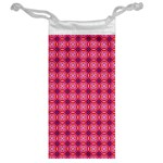 Abstract Pink Floral Tile Pattern Jewelry Bag Back