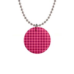 Abstract Pink Floral Tile Pattern Button Necklace by creativemom