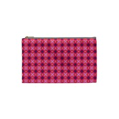 Abstract Pink Floral Tile Pattern Cosmetic Bag (small) by creativemom