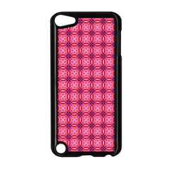 Abstract Pink Floral Tile Pattern Apple Ipod Touch 5 Case (black)