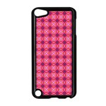 Abstract Pink Floral Tile Pattern Apple iPod Touch 5 Case (Black) Front