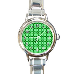 Green Abstract Tile Pattern Round Italian Charm Watch by creativemom