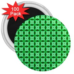 Green Abstract Tile Pattern 3  Button Magnet (100 Pack) by creativemom