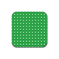 Green Abstract Tile Pattern Drink Coaster (square) by creativemom