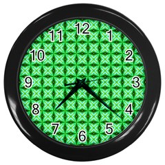 Green Abstract Tile Pattern Wall Clock (black) by creativemom