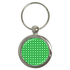 Green Abstract Tile Pattern Key Chain (round) by creativemom