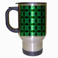 Green Abstract Tile Pattern Travel Mug (silver Gray) by creativemom
