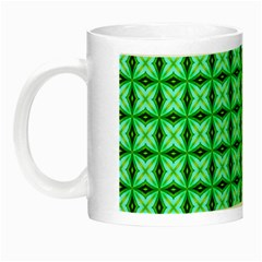 Green Abstract Tile Pattern Glow In The Dark Mug by creativemom