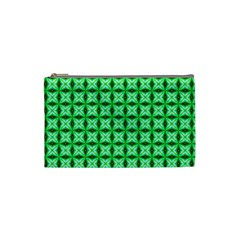 Green Abstract Tile Pattern Cosmetic Bag (small) by creativemom