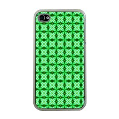 Green Abstract Tile Pattern Apple Iphone 4 Case (clear) by creativemom