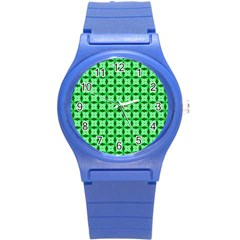 Green Abstract Tile Pattern Plastic Sport Watch (small) by creativemom