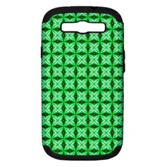 Green Abstract Tile Pattern Samsung Galaxy S Iii Hardshell Case (pc+silicone) by creativemom