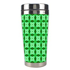 Green Abstract Tile Pattern Stainless Steel Travel Tumbler by creativemom