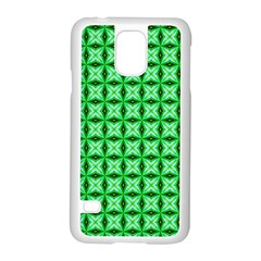 Green Abstract Tile Pattern Samsung Galaxy S5 Case (white) by creativemom