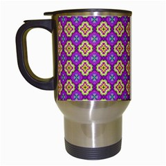 Purple Decorative Quatrefoil Travel Mug (white)