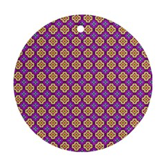 Purple Decorative Quatrefoil Round Ornament (two Sides) by creativemom