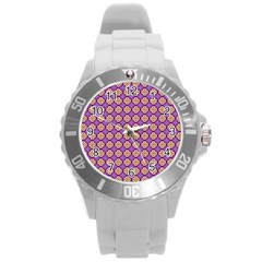 Purple Decorative Quatrefoil Plastic Sport Watch (large) by creativemom