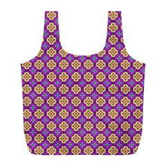 Purple Decorative Quatrefoil Reusable Bag (l) by creativemom