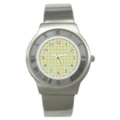 Aqua Mint Pattern Stainless Steel Watch (slim) by creativemom