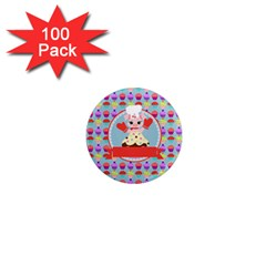 Cupcake With Cute Pig Chef 1  Mini Button Magnet (100 Pack) by creativemom