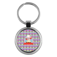 Cupcake With Cute Pig Chef Key Chain (round) by creativemom