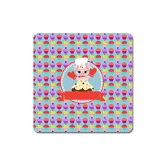 Cupcake With Cute Pig Chef Magnet (square) by creativemom