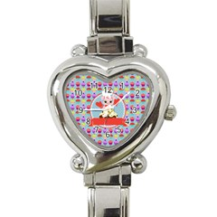 Cupcake With Cute Pig Chef Heart Italian Charm Watch  by creativemom
