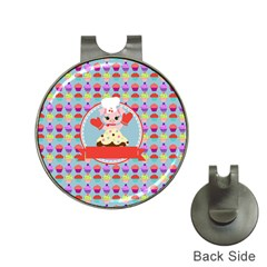 Cupcake With Cute Pig Chef Hat Clip With Golf Ball Marker by creativemom